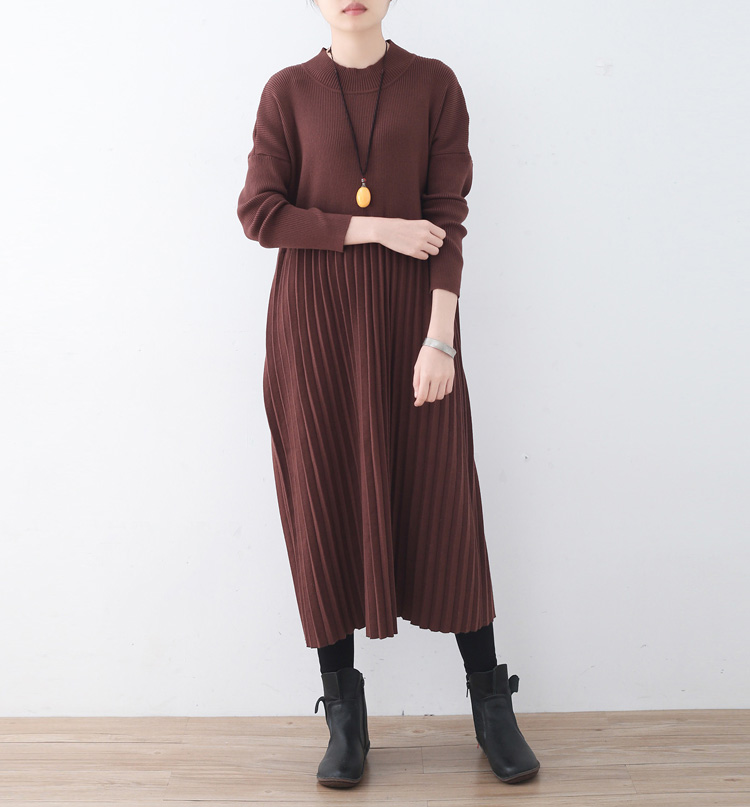 New One Piece Warm Wool Sweater Dress Casual Women 2017 Winter Dress Solid Pleated Knee Length Knitted Warm Female Dresses Cloth unisex illest letter hat gorros bonnets winter cap skulies beanie female hiphop knitted hat toucas outdoor wool men pom ball