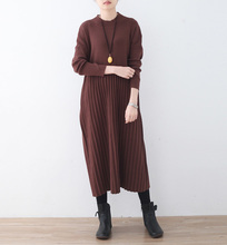 New One Piece Warm Wool Sweater Dress Casual Women 2017 Winter Dress Solid Pleated Knee Length Knitted Warm Female Dresses Cloth