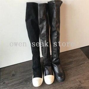Image 2 - Owen Seak Botas deportivas de piel de oveja hasta la rodilla para hombre, botas de invierno informales, bailarinas para nieve, color negro, talla grande