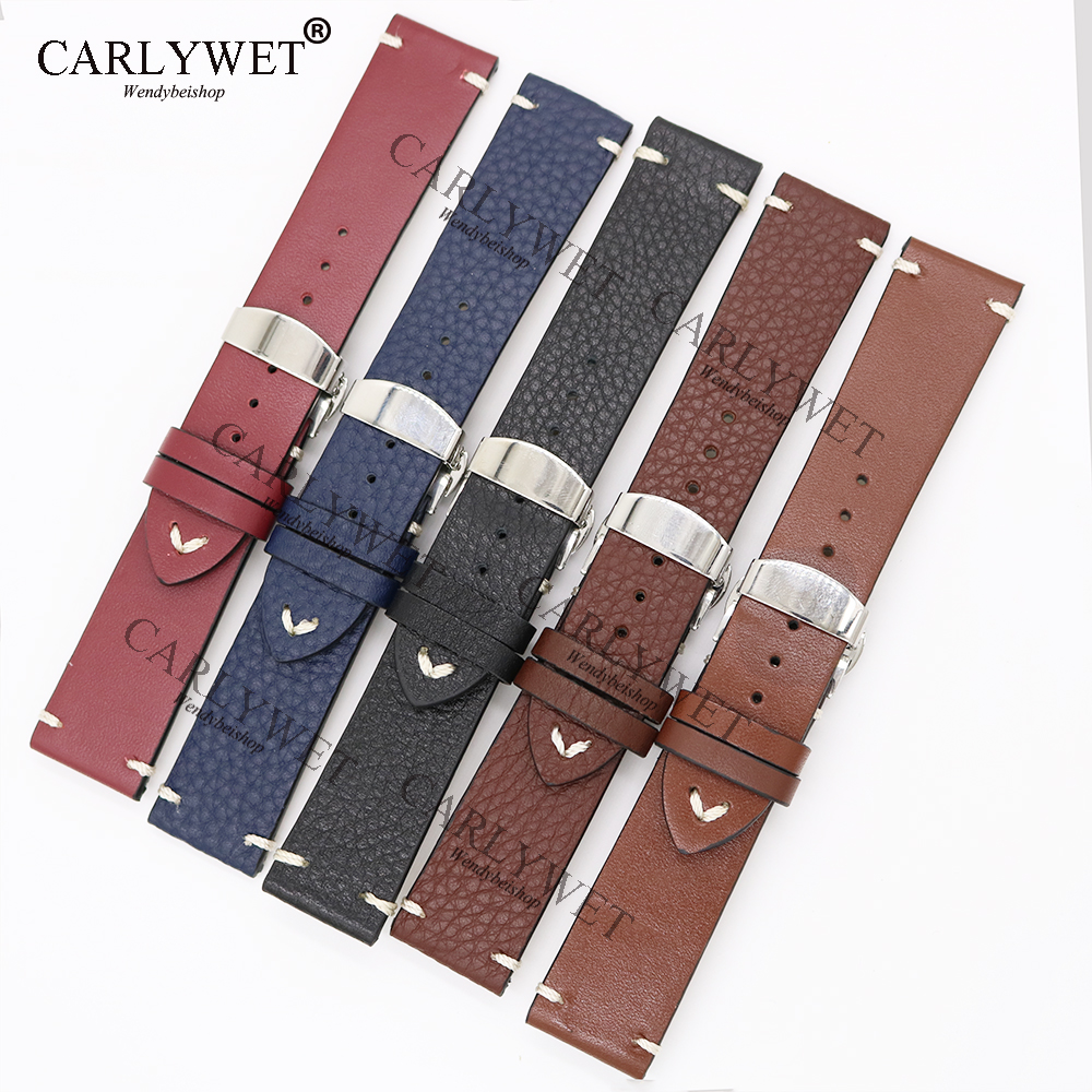 все цены на CARLYWET 20 22 24mm Leather Brown Black Red Blue VINTAGE Replacement Wrist Watch Band Strap Belt with Clasp for Brand Watch