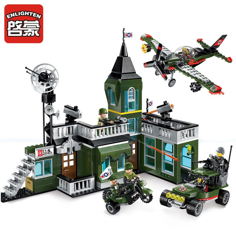 ENLIGHTEN 1714 627Pcs City Military Command Bomber Building Blocks Classic Enlighten Figure Toys For Children Compatible Gifts 8 in 1 military ship building blocks toys for boys