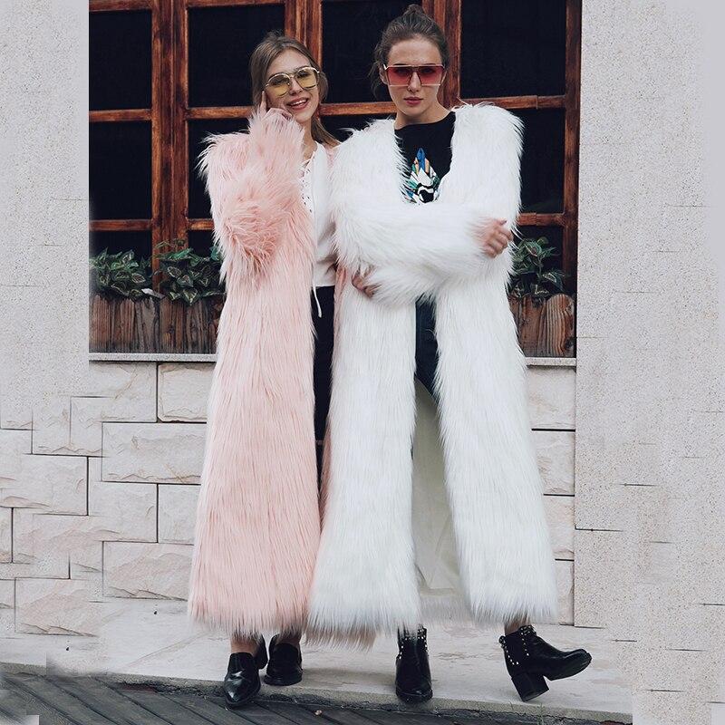 Grande 4xl Manteau Faux dark Femmes Nouvelles Green Chaude 2018 Taille Fourrure Sans black Beige Col Mince Renard Longues pink Femelle Hiver Veste Manches Automne Lâche TF6qw4H