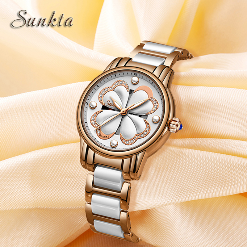 SUNKTA Top Brand Luxury Women Watches Waterproof Ladies Ceramic Stainless Steel Watch Women Fashion Quartz Clock Zegarek Damski