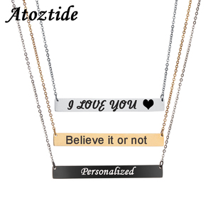 Atoztide Personalized Name Stainless Steel Bar Necklace For Women Gold Chain Necklace Customized Letters Nameplate Gift