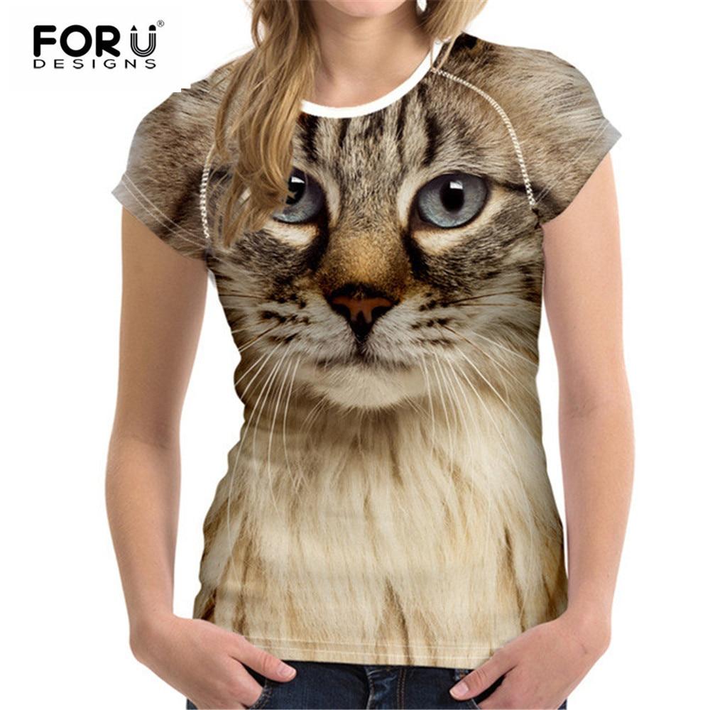 FORUDESIGNS Svart katttryck Kvinnor T-shirt 3D katt T-shirt Casual Kvinna Rund hals Kortärmad Modetoppar T-shirts