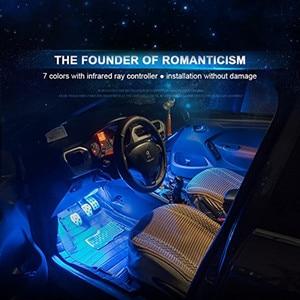 Image 4 - Atmosfera interior do carro luz de néon led multi cor rgb voz sensor som música controle decoração decorativa lâmpada iluminação do carro 12v