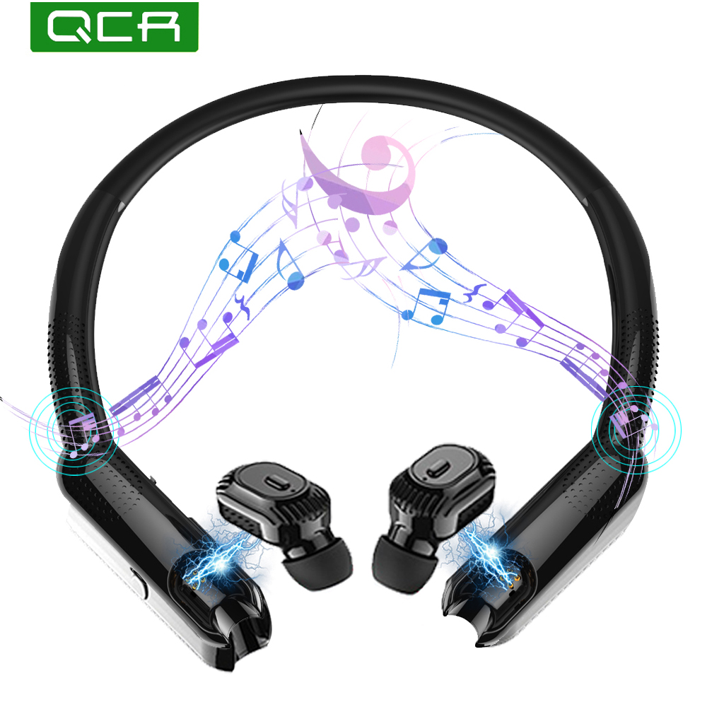 QCR TWS Bluetooth Earphones including Portable Neck Radio Sport HiFi Wireless Headphones Noise Cancelling Game Sports Headset wavefun xpods 3