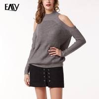 Pullover Sweater Women 2017 European Fashion Off Shoulder Sweaters Long Sleeve O-Neck Casual Sexy Women's Sweaters White/Pink