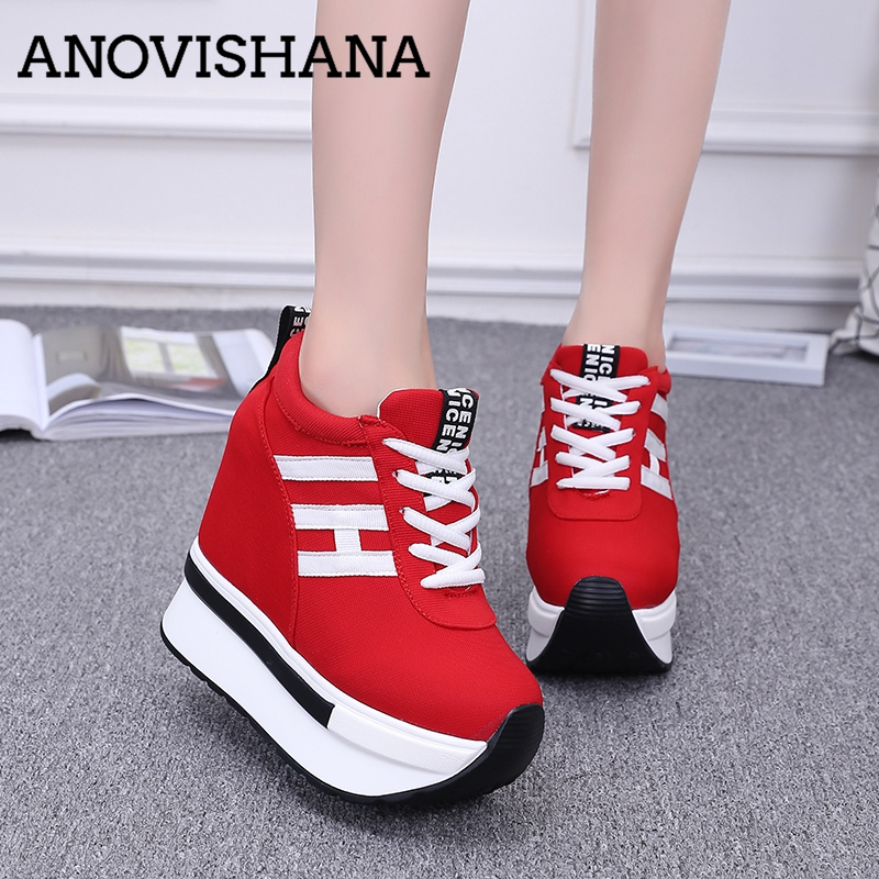 ANOVISHANA women sport casual shoes woman super platform high top thick soled elevator canvas loafers zapatos mujer 2018 B494h large size 8cm high 2016 women casual canvas shoes woman platform wedges high top with zippers ladies zapatos mujer espadrilles