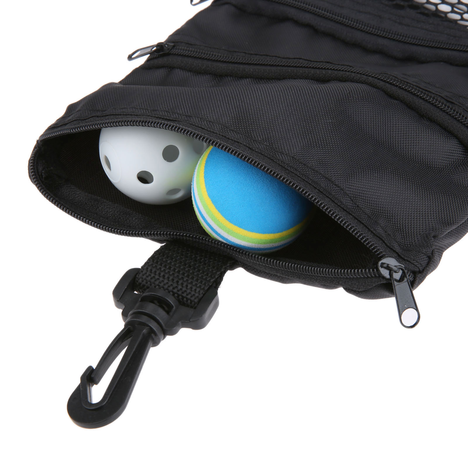 63e172a63842 SURIEEN Black Mini Portable Golf Ball Bag Golf Tees Holder Multi-Pocket  Zipper Mesh Pouch Storage Handbag Bag Golf Training Accessories