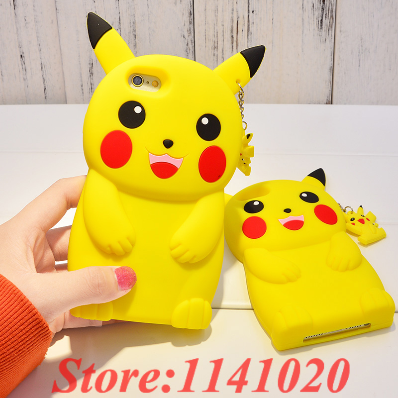 3D Cartoon Pokemon Pocket Pikachu Case Silicone Cover for iPhone 4 4S & SE 5 5S 5C & 6 6S 4.7″ & 6 6S Plus 5.5″