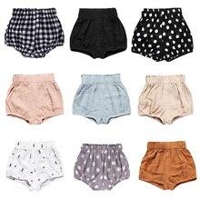 Детские хлопковые штаны для новорожденных мальчиков и девочек, Короткие трусы подгузники, трусики для детей 6-24 месяцев, Детские панталоны, шорты для малышей