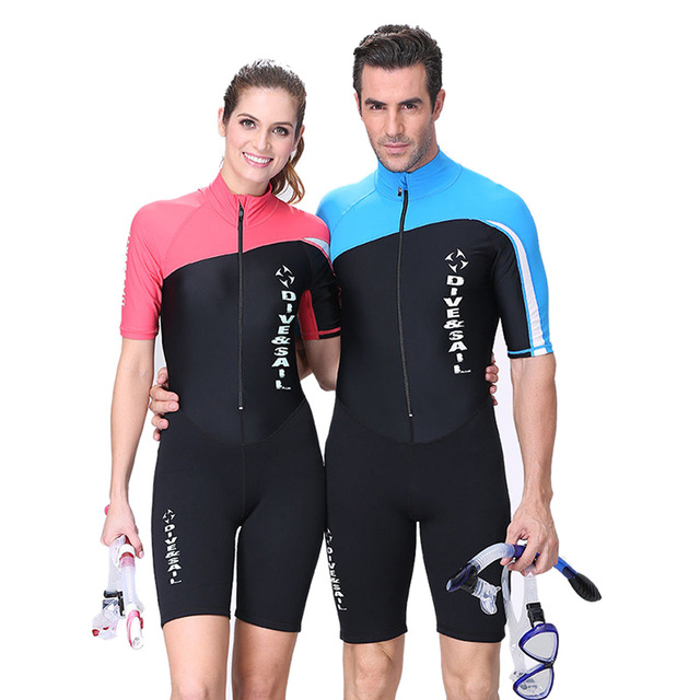 6d3cbb94bb Dive Sail Neoprene wetsuit Couple dive skin suit body suit long short  sleeve one piece for skin diving rashguard