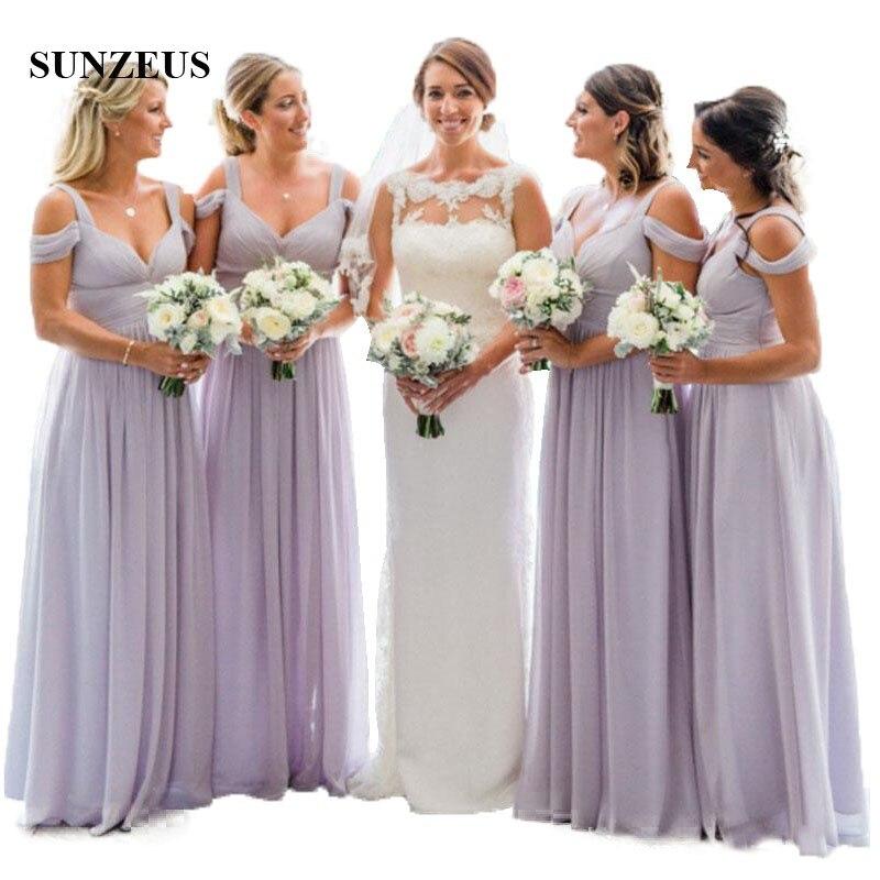 Empire violet clair robes de demoiselle d'honneur pour les mariages simples longues robes de fête d'invité en mousseline de soie femmes robe de demoiselle d'honneur