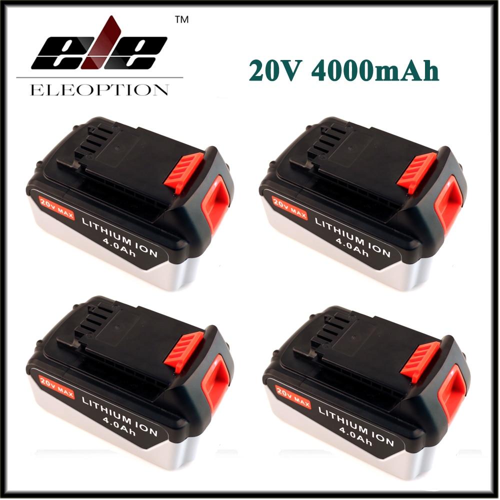For Black & Decker 4 PCS ELEOPTION Rechargeable Power Tool Battery 20V 4.0 Ah 4000mAh Lithium Ion Battery Pack LB2X4020 LBXR20