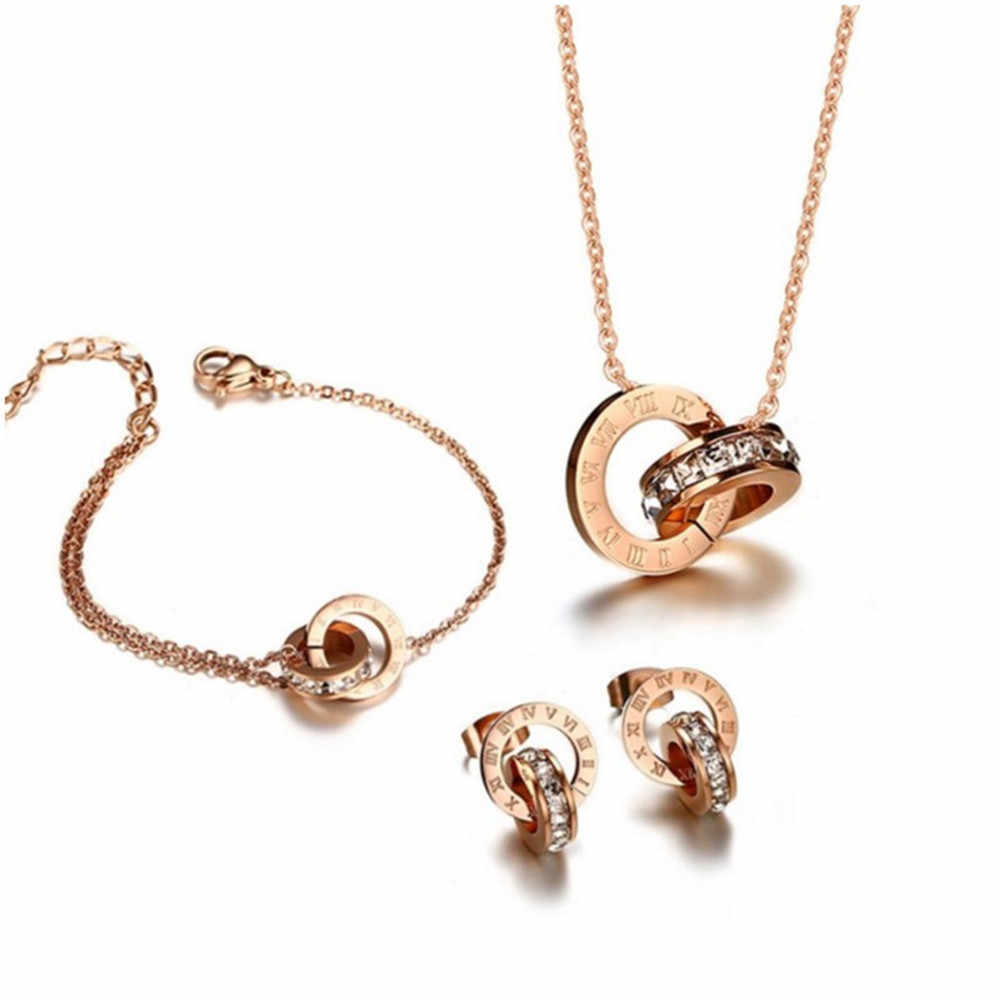 Luxury Titanium Steel Rose Gold Roman Numerals Pendant Necklace Earring 316L Stainless Steel Woman Jewelry Set Valentine's Gift