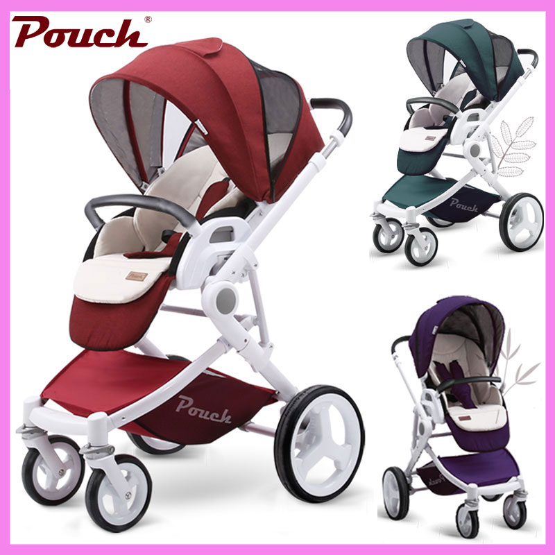 Pouch High Landscape Visiable Umbrella Baby Stroller Two Way Baby Carriage 3 In 1 Portable Lightweight Four Wheels Baby Pram baby stroller high landscape pram four wheel baby trolley folded two way poussette bebek arabas kinderwagen bebe baby carriage