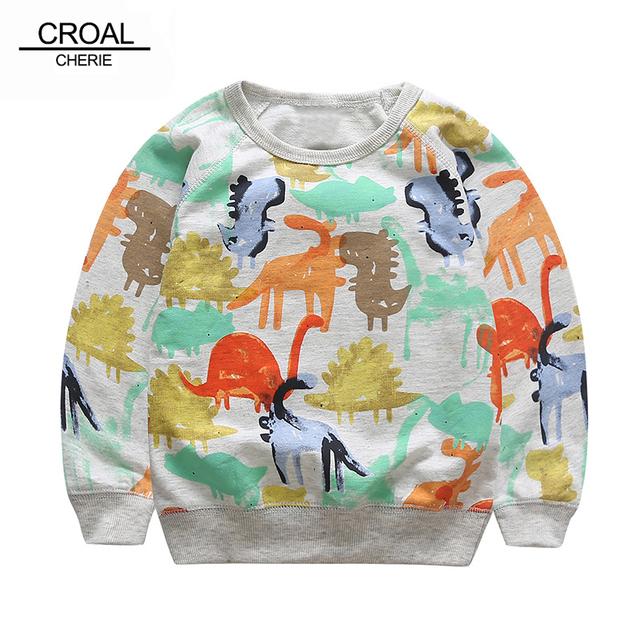 80-120 cm 2017 primavera dinosaurio bebé sudaderas niños sudaderas con capucha suéter ropa de los muchachos niños clothing juego del deporte t-shirt