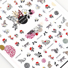 Animal Nail Decals Stickers 3D Flowers and beast Art Cute Colorful Accessories