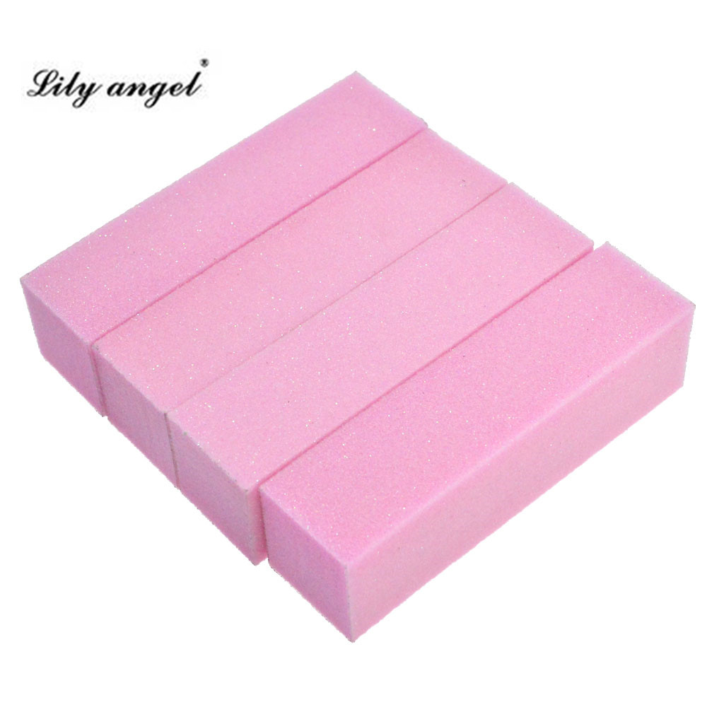 Lily angel 4pcs High Quality Pro font b Nail b font Buffer File Pink Sponge Sandpaper