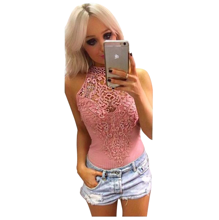 Women Sexy Bodysuit Women Lace High Neck Cut Out Back Bodycon Jumpsuits Romper Combination Shorts Playsuits