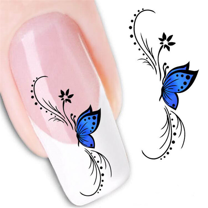 2sheets Beauty Erfly French Water Transfer Nail Art Sticker Decal Kit Foil Adhesive Manicure Tips Decoration