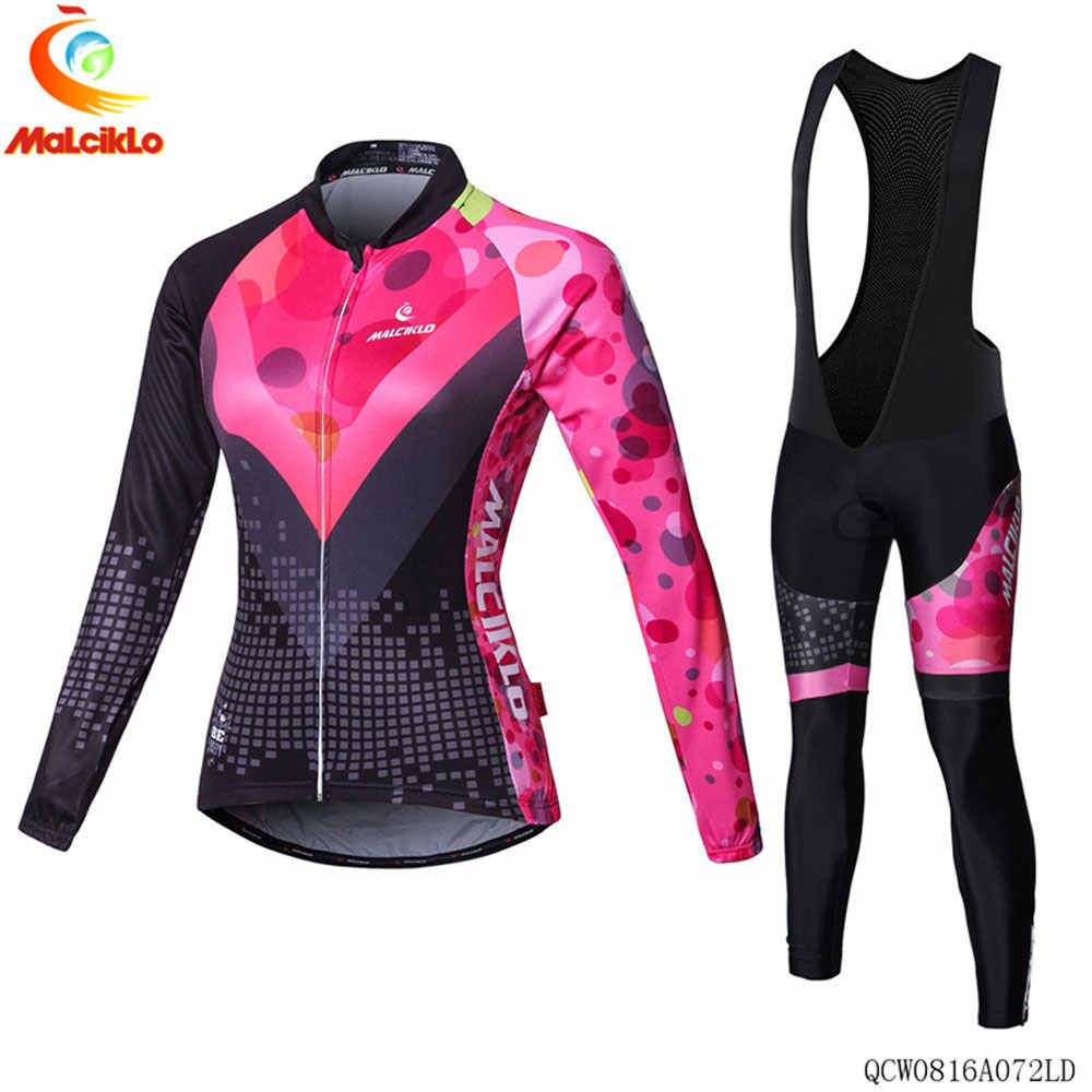 Malciklo Cycling Jersey Set Women Summer Cycling Wear Mountain Bike Clothes Bicycle Clothing MTB Bike 2019 Pro Team Cycling Suit