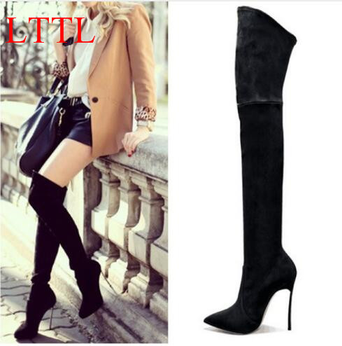 LTTL Bottes Femmes Winter Women Thigh High Boots Pointed Toe Over-the-knee Women Slim High Boots Metal High Heel  Women Shoes