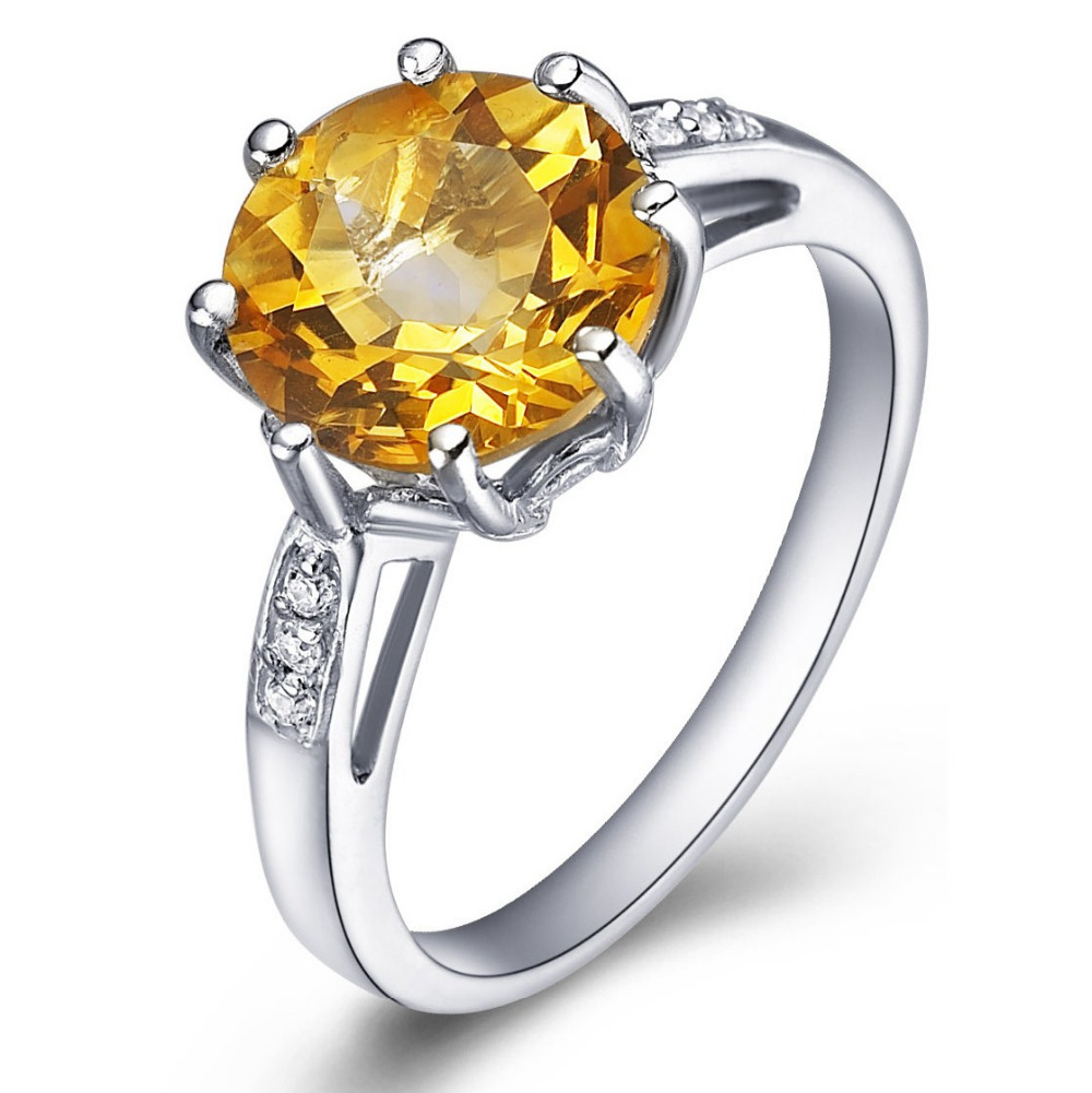 Natural Citrine Ring 925 Sterling Silver Yellow Crystal Woman Fashion Fine Elegant Jewelry Queen Luxury Birthstone Gift SR0273C все цены