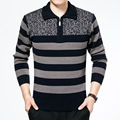 Men's Winter Warm Thick Wool Turn-Down Collar Zipper Sweater Autumn Knitted Striped Pullover Jumper Casual Jersey Hombre Clothes