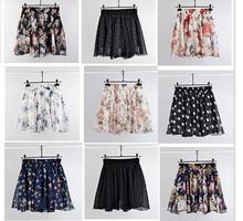 2020 spódnica letnia moda Retro plaża drukowana spódnica szyfonowa spódnica Bohemia tanie tanio Plisowana WOMEN Naturalne Floral Czeski Powyżej kolana Mini