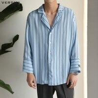 e351f347c5 VERSMA Korean Loose BF Pajamas Style Harujuku GD Casual Shirt Men Striped  Vintage Chemise Camisa Mens