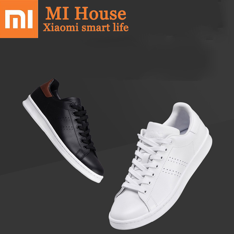 Xiaomi Freetie Classic Shoes Leather Black Lace Up Flat Shoes White Women S Skateboard Shoes With