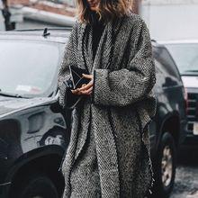 AEL серый задний короткий размера плюс Свободный плащ Асимметричная Женская ветровка зимнее индивидуальное повседневное ветрозащитное пальто