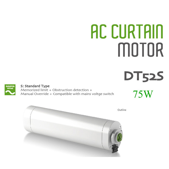 Dooya DT52S Electric Curtain Motor 220V Open Closing Window Curtain Track Motor Smart Home Motorized 75W Curtain Motor dooya dt52e electric curtain motor 220v 45w open closing window curtain track motor home automatic curtain motor for project