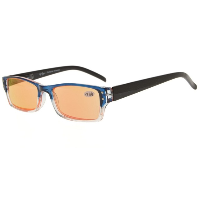 a921a7a8f47 CG012 Eyekepper Spring Hinge Two-Tone Color Computer Glasses Orange Tinted  Lenses Readers Eyeglasses