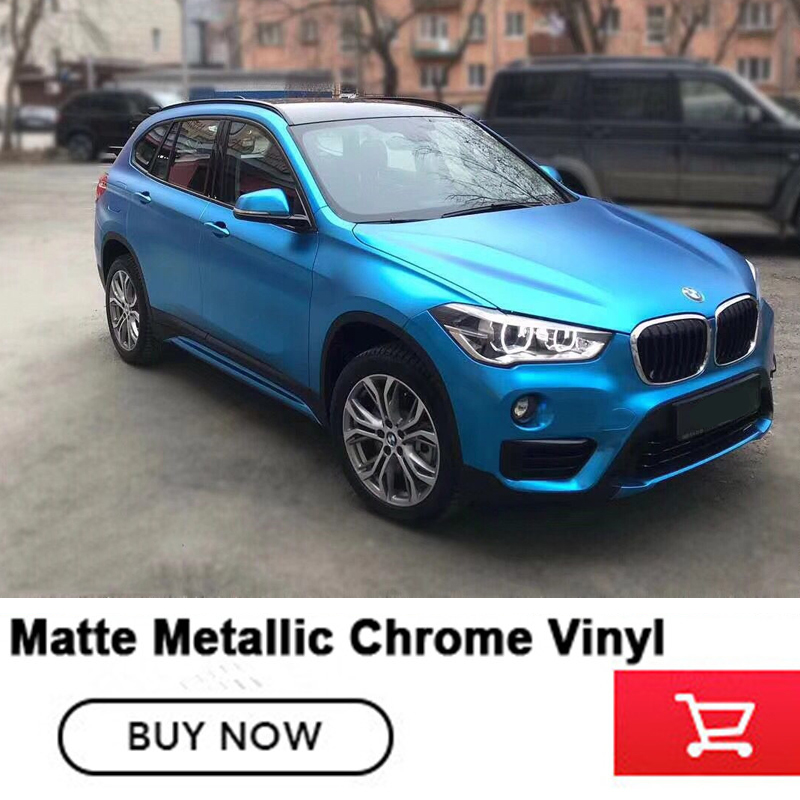 Luxury New color light blue matte chrome vinyl car wraps satin metallic chrome viny With Air Rlease 1.52*20m/roll factory price 152cmx18m premium polymeric pvc light blue ice matte chrome vinyl film car styling wraps whole body stickers with air channel