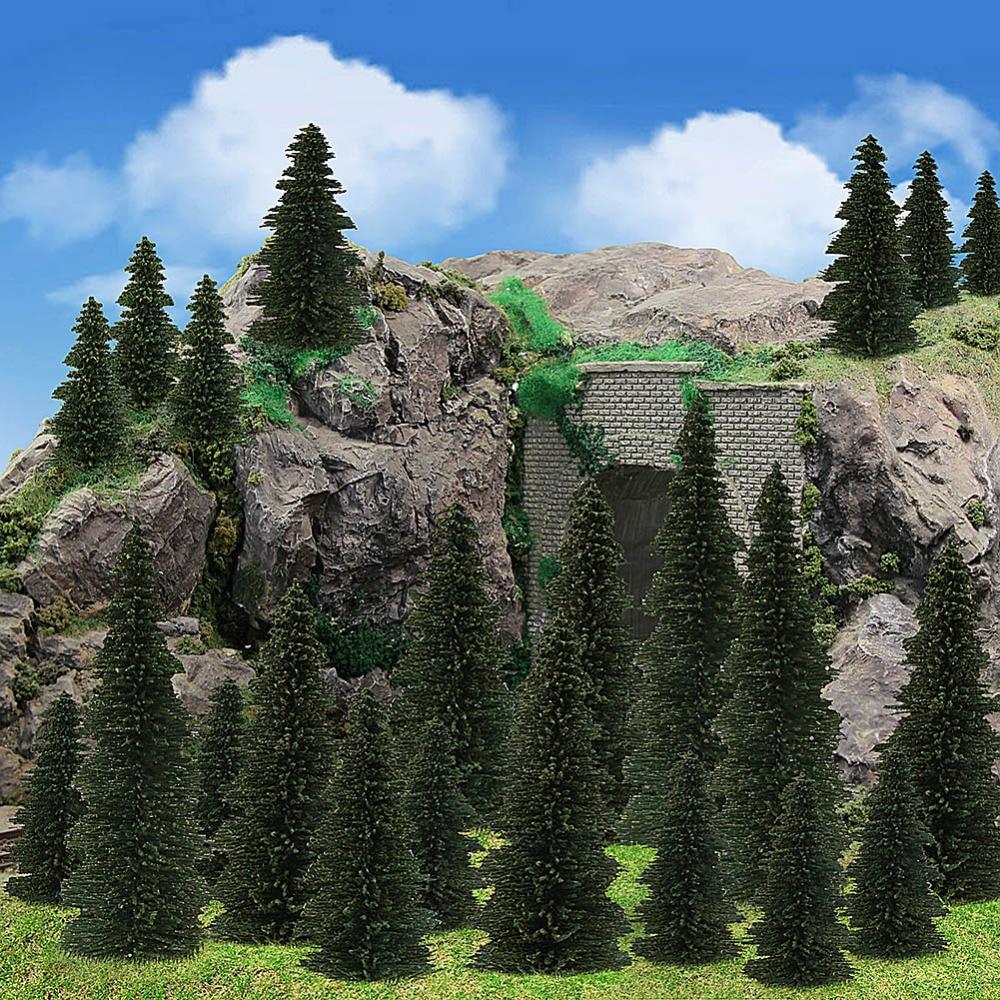 40pcs Model Pine Trees Deep Green Pines For HO O N Z Scale Model Railway Layout Miniature Scenery S0804