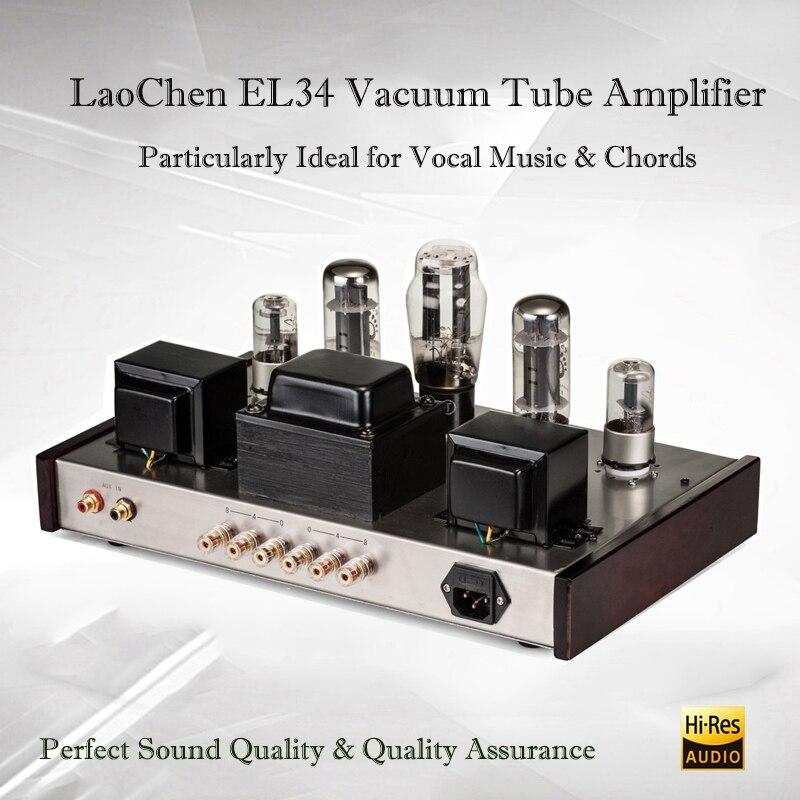 more photos b747f 58c81 LaoChen EL34 Hifi Tube Amplifier Audio Stereo Vacuum Tube Amplifier Class A  Tube Preamp Desktop Tube Amp Home Preamplifier