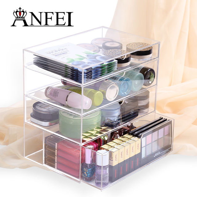 Delightful Home Storage Container 4 Drawers Acrylic Makeup Organizer Lipstick Nail  Polish Clear Plastic Cosmetic Storage Box