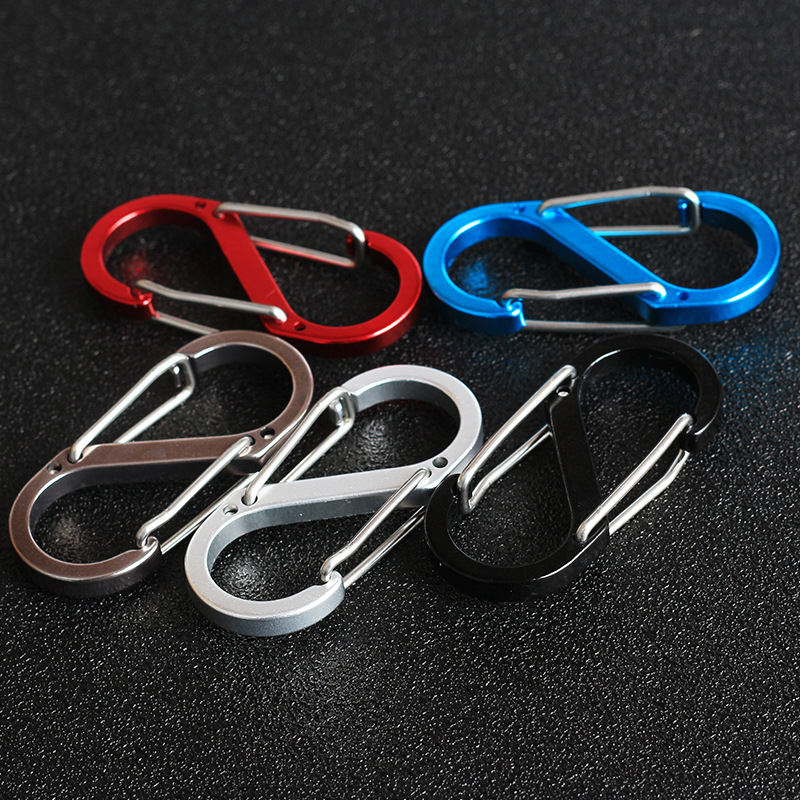5pcs/lot Mix Color 8 Shape Outdoor Carabineer & Quickdraw Aluminum alloy Survival Buckle Locking Carabiner Keychain Tools 13 9cm aluminum alloy outdoor sports carabiner w sponge purple