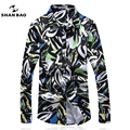 SHANBAO Men's Shirts Business Casual Printing Shirts Male Spring Autumn Floral long Sleeved Leisure Shirt Large Size M~5XL