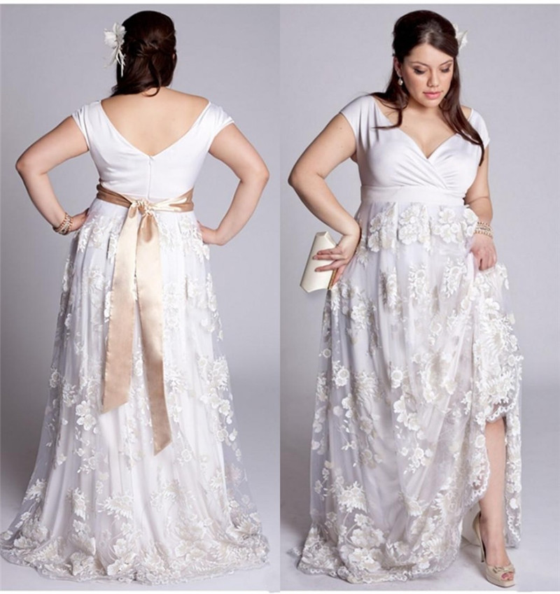 2015 Arrived White Lace Size Line Neck Short
