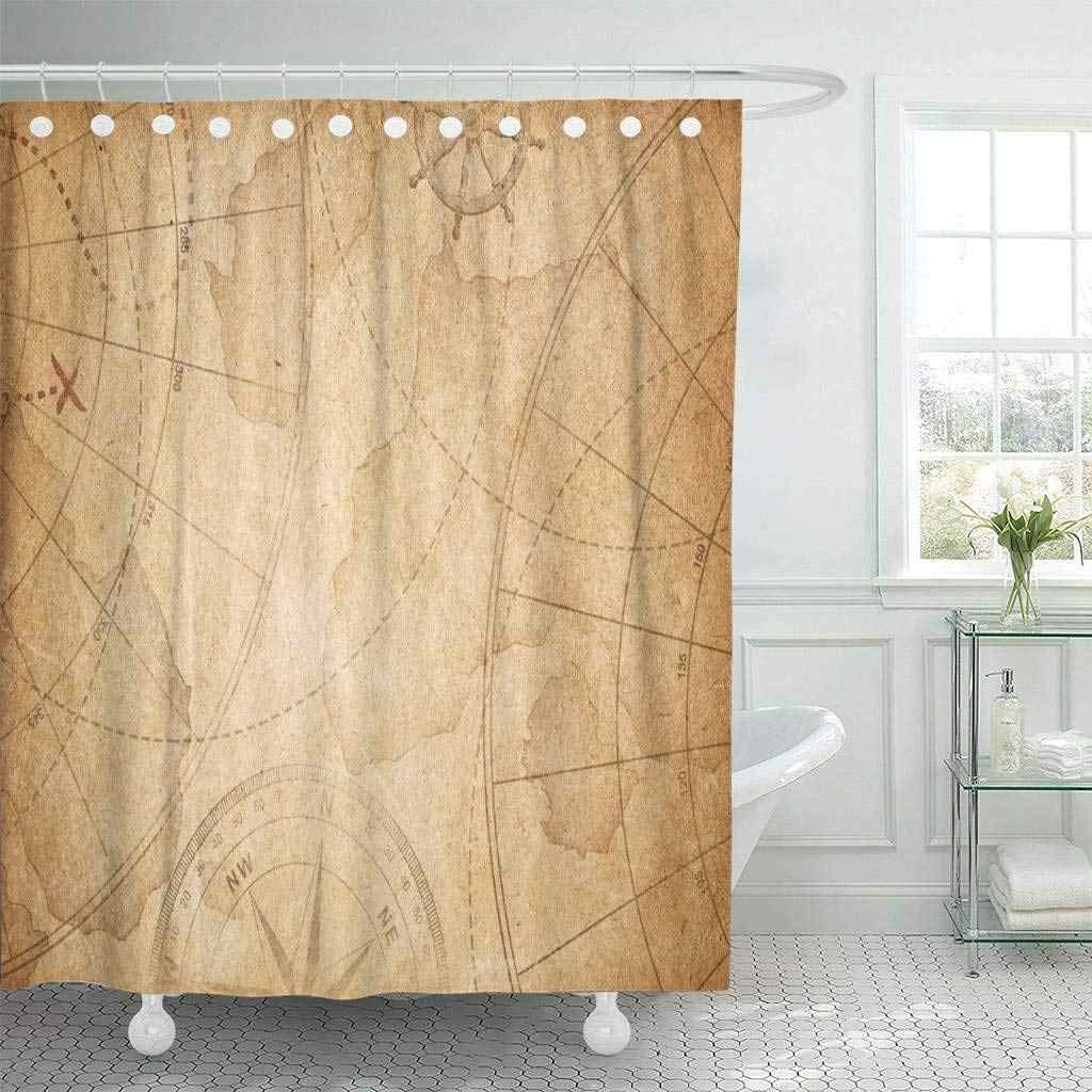Shower Curtain Brown Vintage Aged Pirates Treasure Map World Old