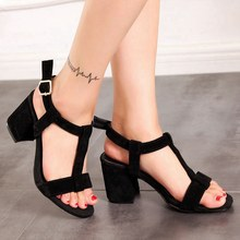 c07bb5b7e233c4 REAVE CAT Latest Female Mid heels sandals Women s shoes Summer Big size 34-46  Causal