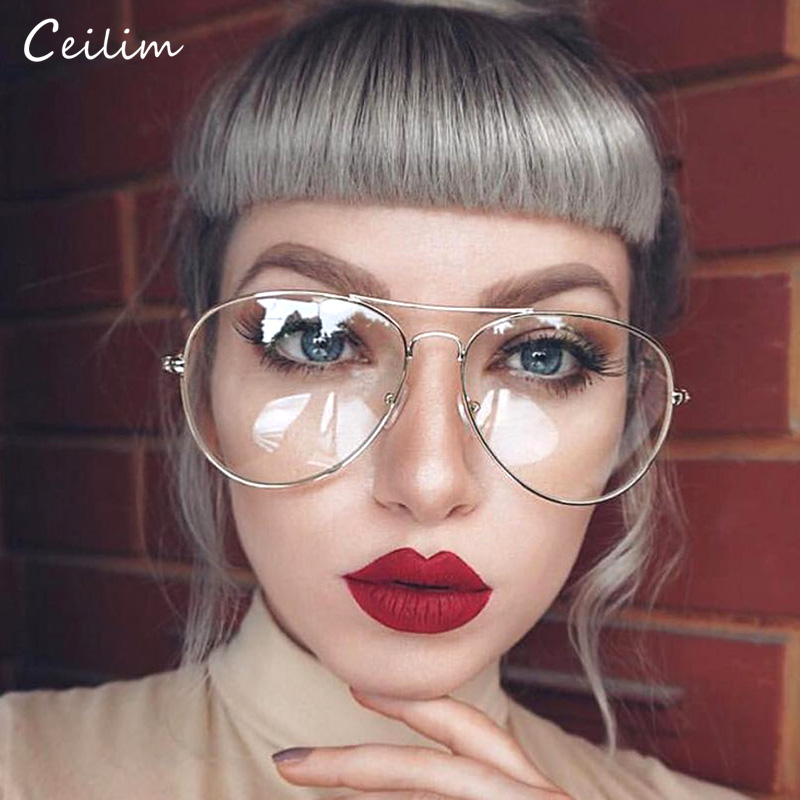2019 Fashion Clear Glasses Women Optical Frames Myopia Lunette Female Oculos Oversized Transparent Pilot Glass Fake Glasses