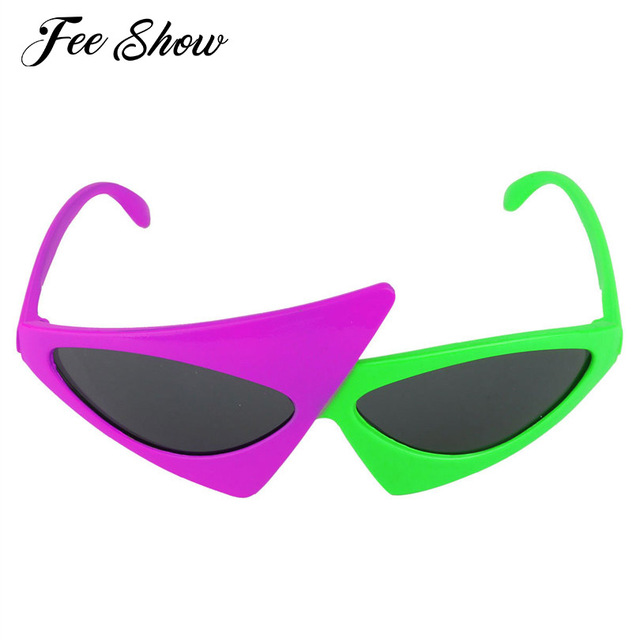 6afe09972af Novelty 2-Color Neon Green and Purple Funny Asymmetric Triangle Glasses  Fashion Accessories for Halloween or Other Costume Party