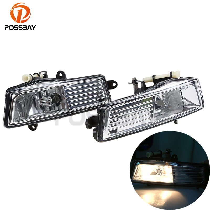 POSSBAY Car Front Fog Lamps Clear Lens Bumper Fog Lights Driving Lamps External Light Fit for Audi A6(C6) A6/Avant 2009-2011 car fog lights lamp for mitsubishi triton 2 door 2009 on clear lens pair set wiring kit fog light set free shipping