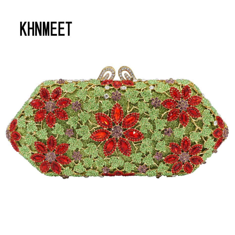 8 Color Green Clutch Bag original Beautiful Snow Shape Red Pink Luxury Crystal Evening Bag Women banquet Purse Wedding Bag SC583 7 color oval gold ab silver pink luxury crystal evening bag party clutch purse women wedding handcraft banquet bag customized