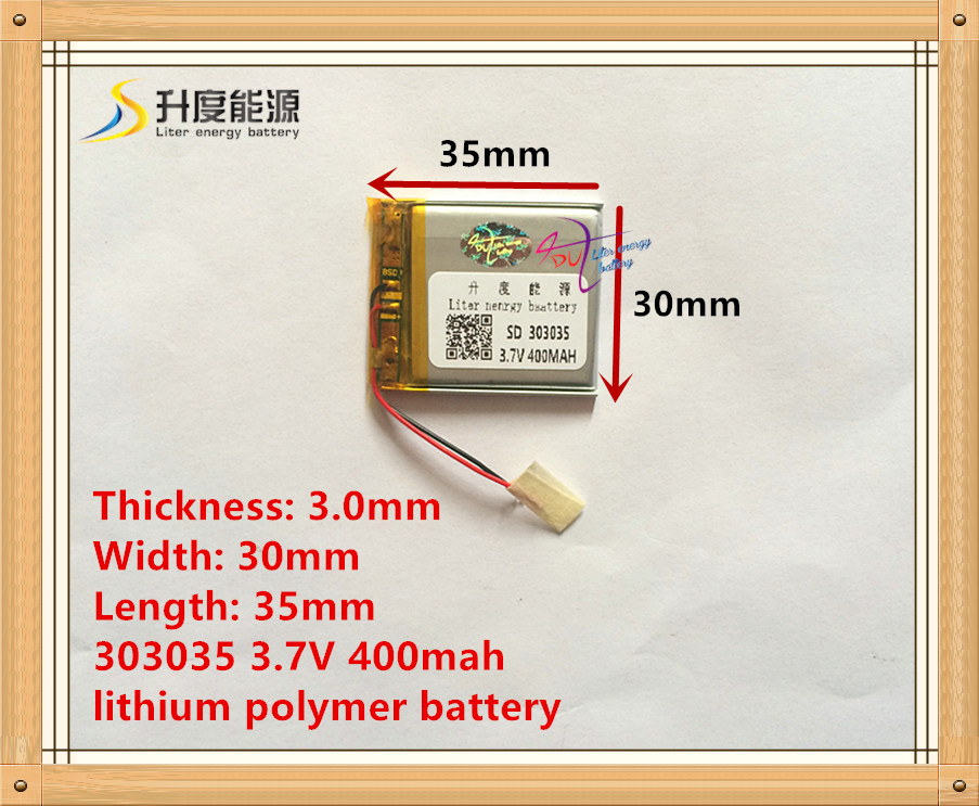 3.7v Lithium Polymer Battery 303035 033035 MP3 MP4 Battery  400mah Recorder